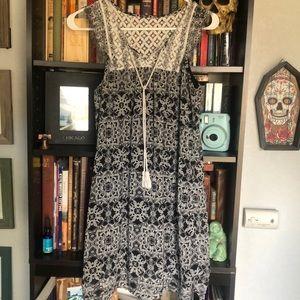 Boho black and white dress